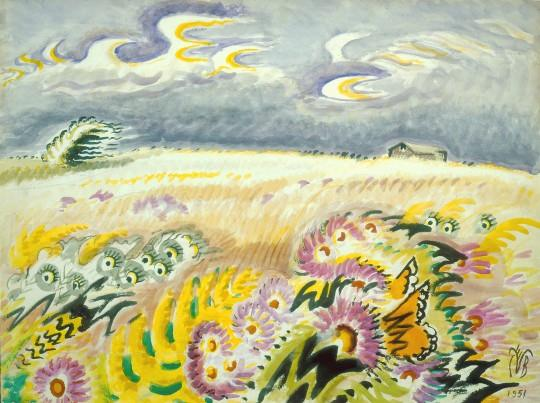 "Asters are a vitally important wildflowers for migrating butterflies. Burchfield's ""other"" career as a naturalist is often demonstrated in his paintings. The Monarchs feeding on the asters here is yet another example. Wind-Blown Asters (1951). Image courtesy of the Burchfield Penney Art Center."